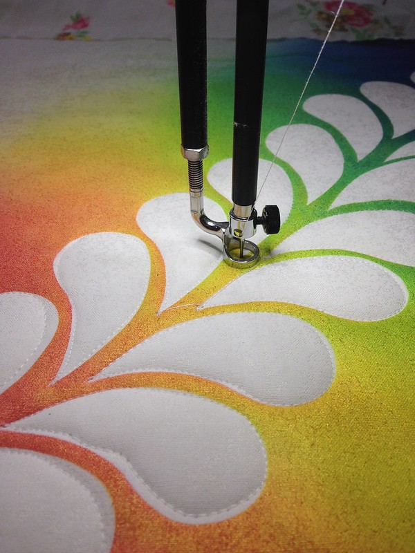 Airbrush over feather resist - quilting - WIP Wednesday