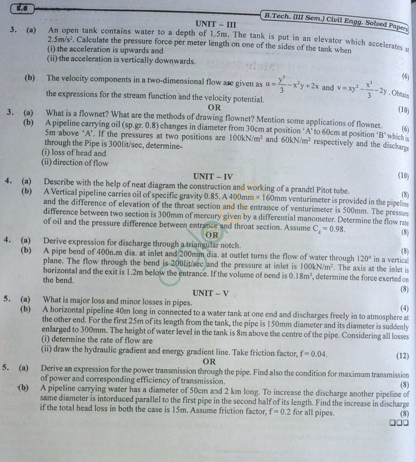 RTU: Question Papers 2014 - 3 Semester - CE - 3E1625