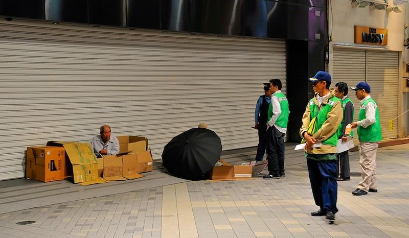 Homeless in arcade