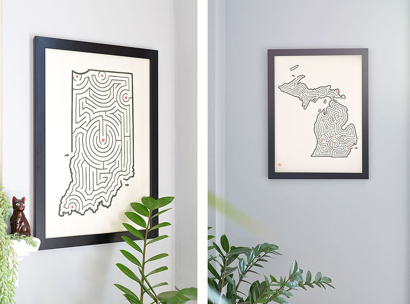 Indiana and Michigan State Maze Prints
