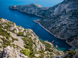 Image of Calanque de Morgiou. sea sky mer france nature water de boat marseille rocks sunny paca morgiou calanques calanque méditerranée merméditerranée mediterroneansea