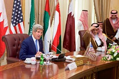 U.S. Secretary of State John Kerry answers a reporter's questions about the attack on U.S. Ambassador to the Republic of Korea Mark Lippert before the start of a meeting of the regional Gulf Cooperation Council on March 5, 2015, in Riyadh, Saudi Arabia. [State Department photo/ Public Domain]