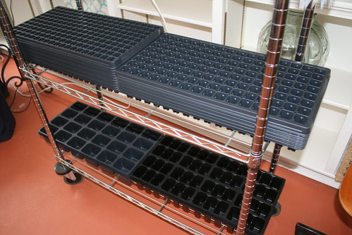 new planting trays on shelves