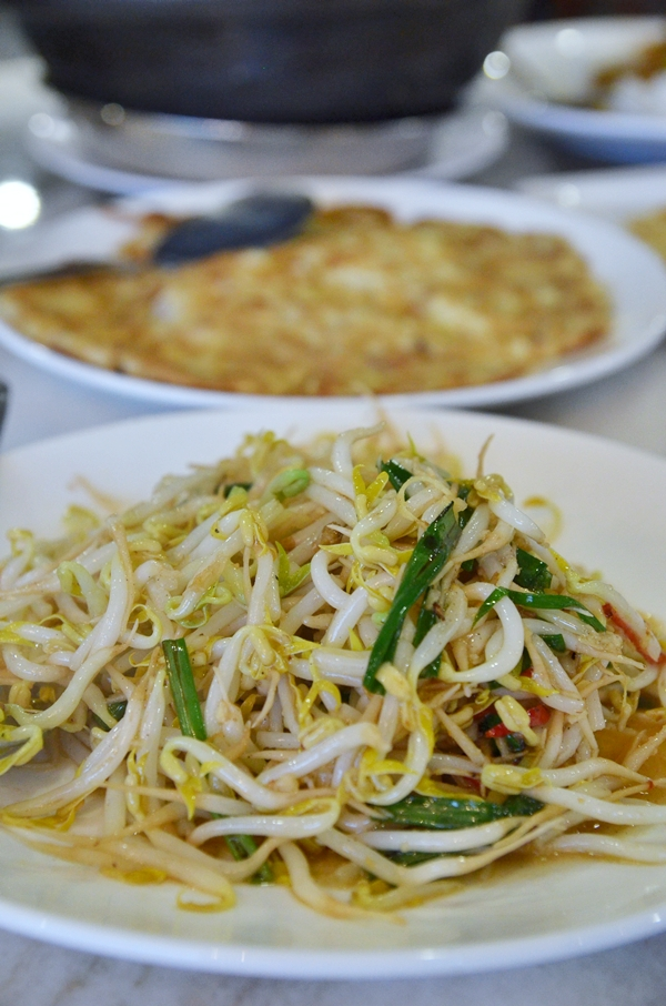 Bean Sprouts with Salted Fish & Choy Pou Omelette
