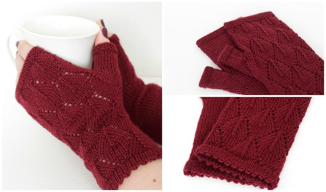 Burgundy lace mittens