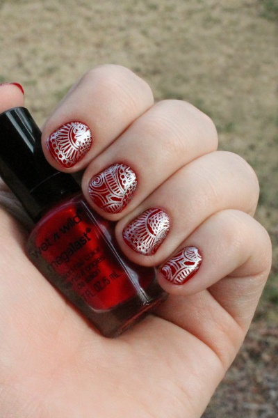Red & silver arabesque nails (Born Pretty Store #17)