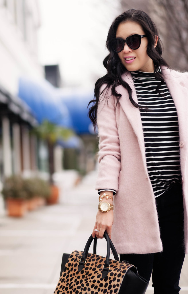cute & little blog | petite fashion | pink wool coat, black white striped turtleneck, clare v leopard sandrine satchel, white pumps | winter outfit