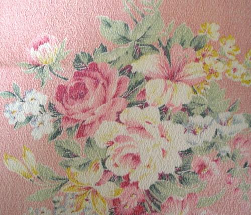 Pink Shabby Barkcloth fabric 10 X 11