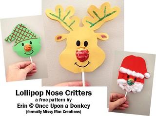 Lollipop Nose Critters - Elf, Reindeer & Santa