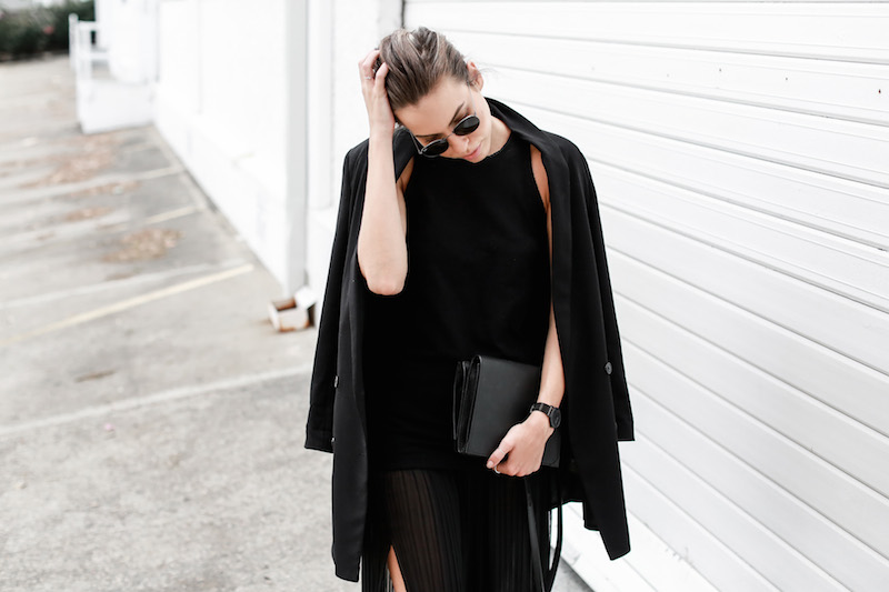MODERN LEGACY Celine slide sandals all black street style pleated sheer split skirt Bassike tank fashion blog Australia (7 of 13)