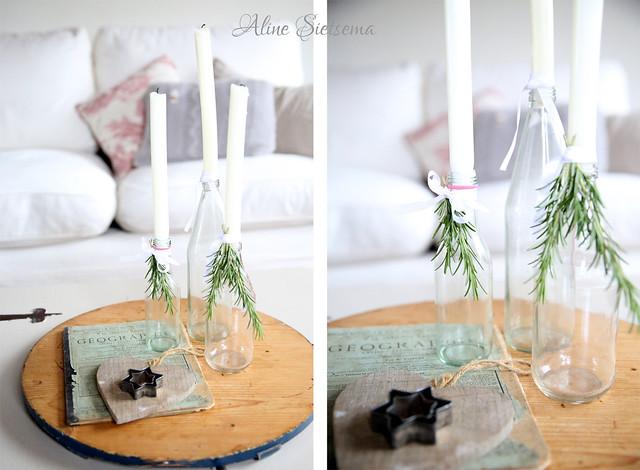 kerst zelfmaak idee fles met kaars en takje brocantepost
