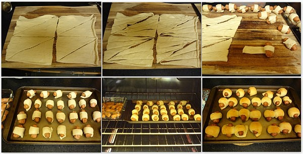 Collage of preparation of Pigs in a blanket