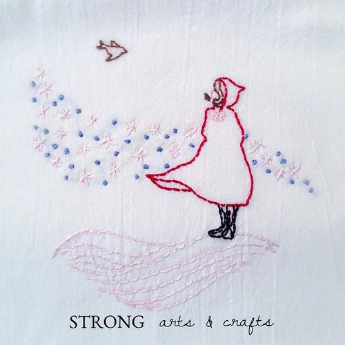 SA&C Winter Girl hand embroidered dish towel