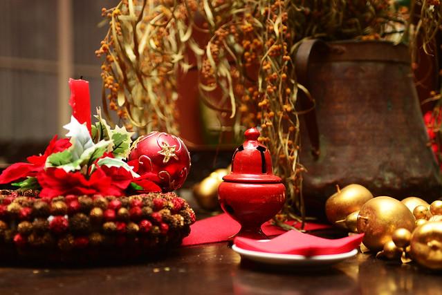 Decoración navideña para la zambomba en la bodega casa del Marqués