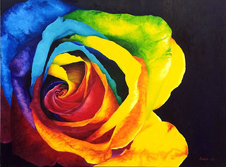 """RAINBOW ROSE"" OIL PAITING BY NEETI BAURA"