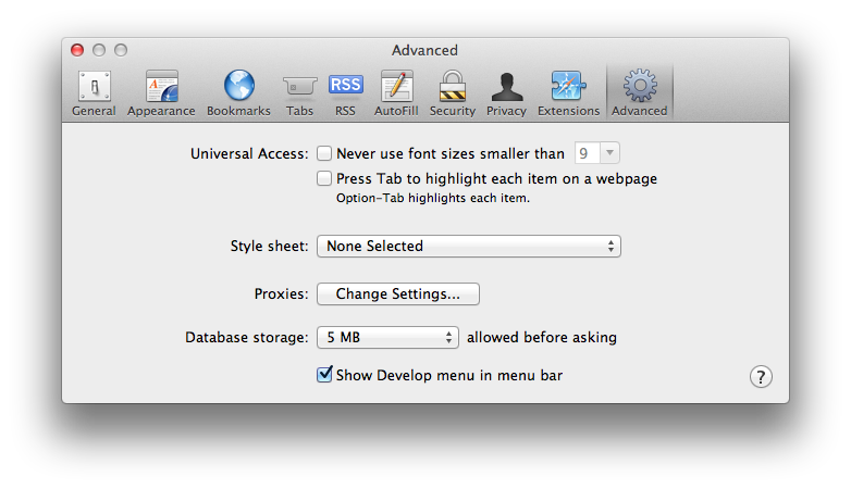 Safari Developer Tools Preferences