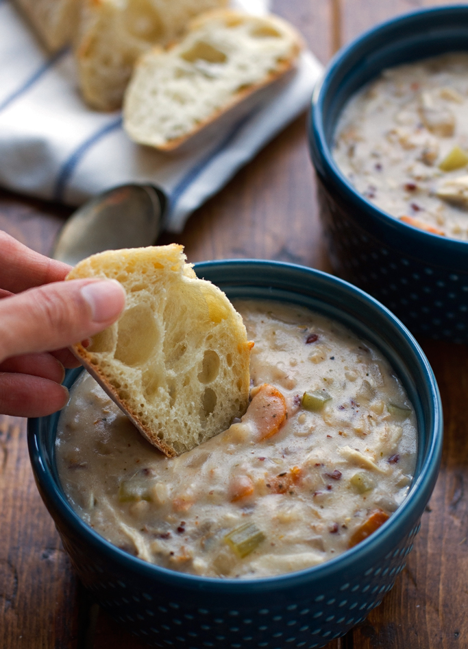Chicken Wild Rice Soup {Slow Cooker} A creamy soup that cooks itself in the slow cooker. This soup is so warm and comforting! #slowcooker #crockpot #chickenwildricesoup #wildrice #soup   littlespicejar.com