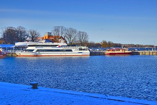 Sunny winter day in the harbour of Stralsund in Mecklenburg-Vorpommern, Germany