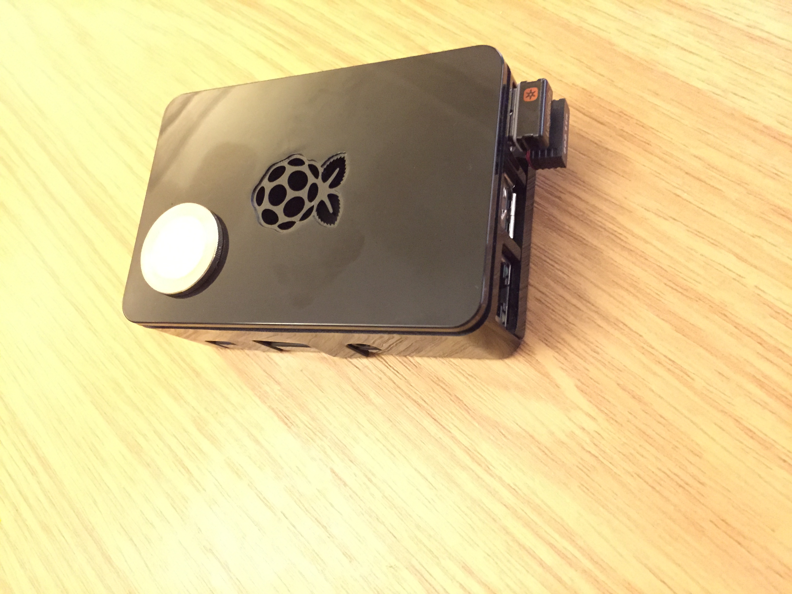 Raspberry Pi 2 in Case with WiFi dongle and wireless keyboard dongle