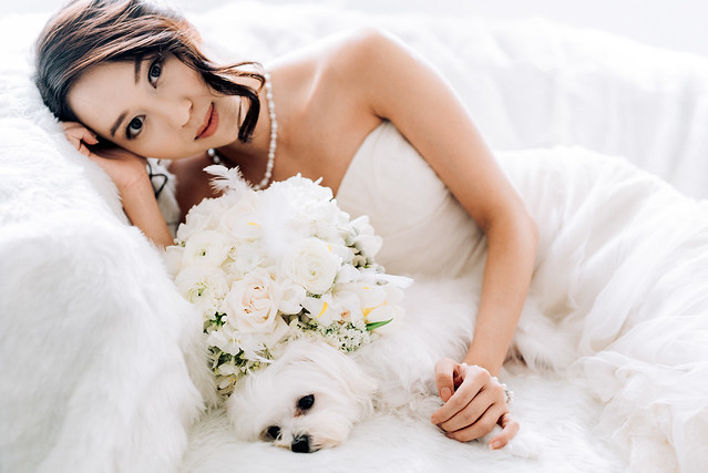 White wedding, style shoot, Multifolds, Tangyong Makeup, Heaven in Wild Flower, pure, flowers, white on white, wedding, jewellery, Melissa Celestine Koh, Truly Enamoured, Tiffany and Co Jewellery, bouquet, white dog