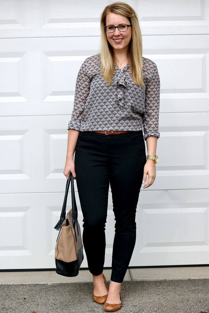 easy work outfit - bow blouse and skinny pants
