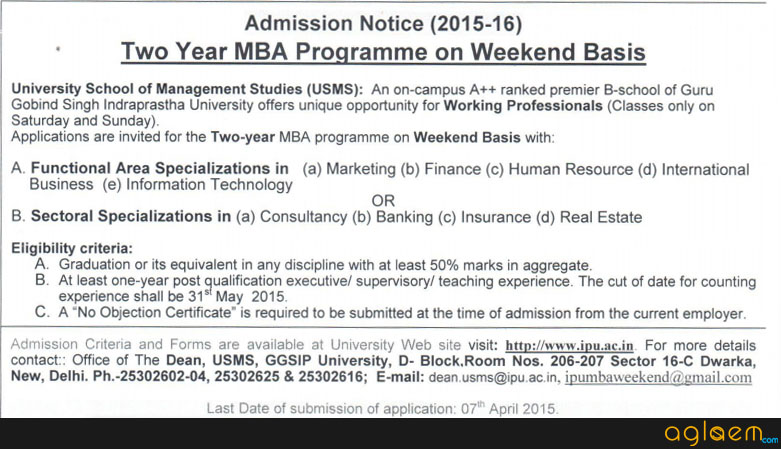Admission Notice for Two Year MBA Programme on Weekend Basis
