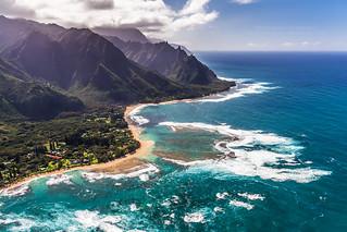 Aerial view of Tunnels Beach Kauai