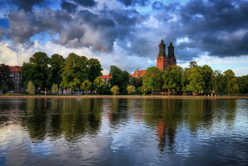 park city trees sky lake clock church clouds reflections landscape cloudy sweden towers ripples sverige bouy hdr eskilstuna citypark waterscape eskilstunaån klosterskyrka