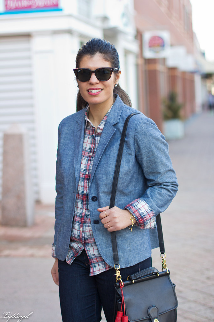 chambray blazer, plaid shirt, red pumps-3.jpg