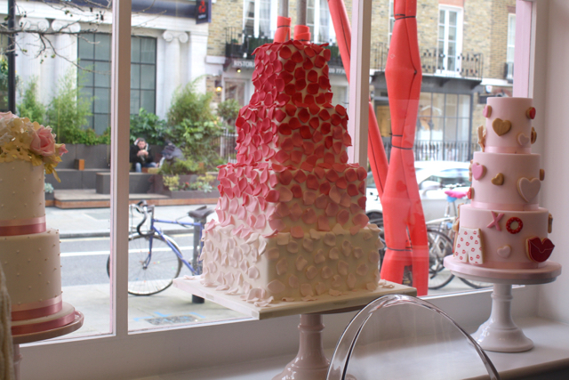Cakes in the window at Peggy Porschen, London
