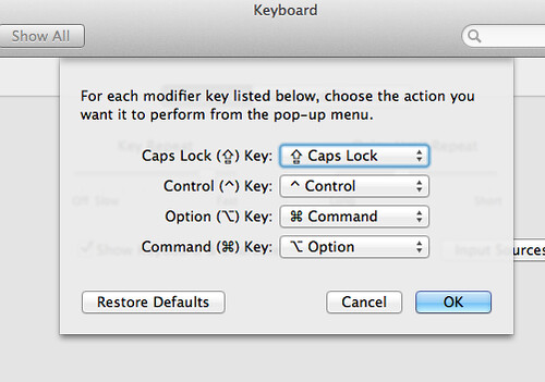 Mac OSX Keyboard Prefs