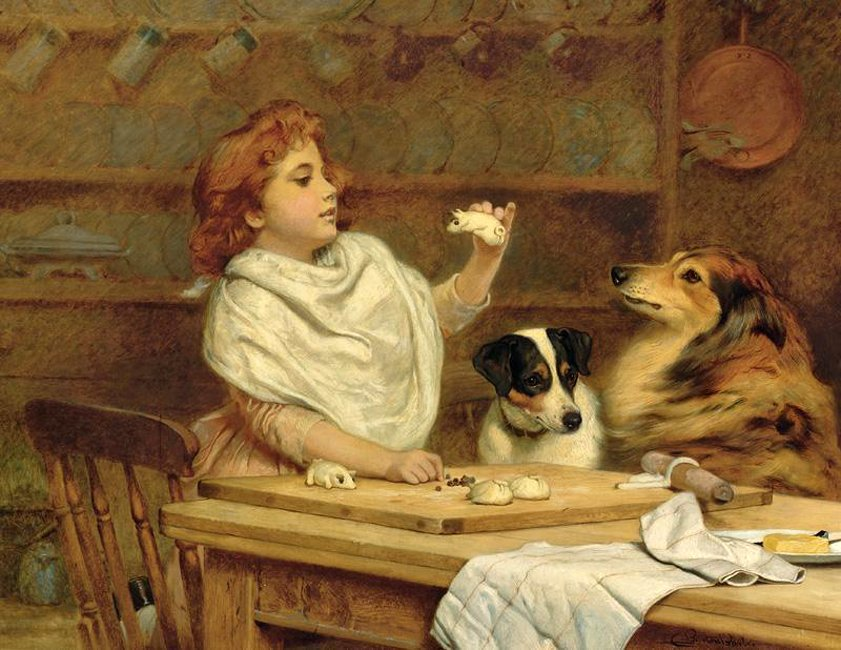 The Little Baker With Her Two Assistants by Charles Burton Barber