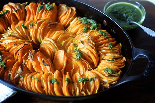 crispy sweet potato roast with thanksgiving salsa verde