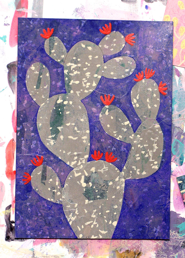 Close up of Cactus Painting