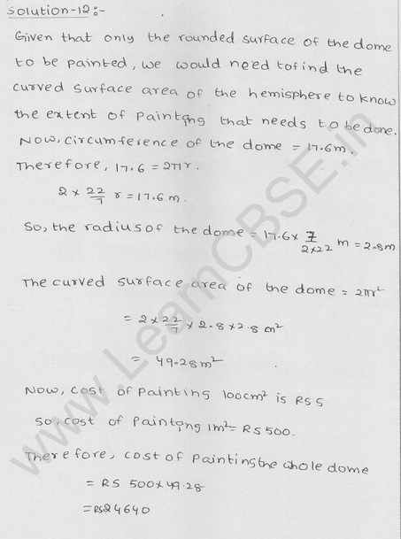 RD Sharma Class 9 solutions Chapter 21 Surface Area and volume of A Sphere Ex 21.1 8