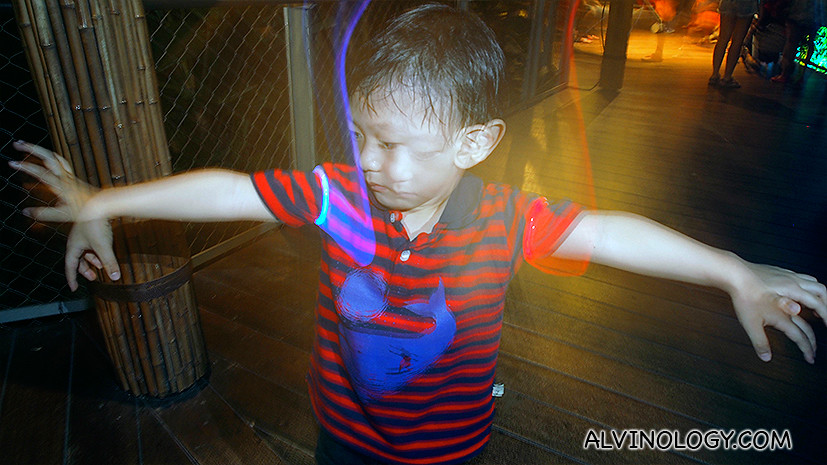 Asher got a pair of neon light rings to play with