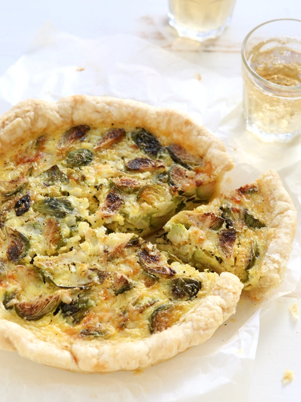 Roasted Brussel Sprout and Gruyere Quiche | completelydelicious.com