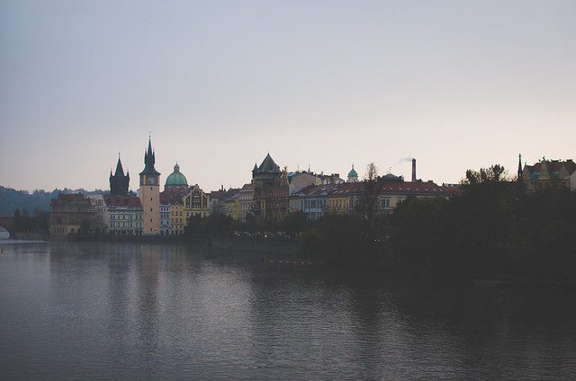 Sunrise over the Vltava River in Prague, Czech Republic