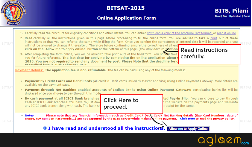 BITSAT 2015 Application Form