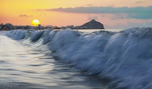 sea sky sol clouds sunrise mar nikon sigma mario murcia amanecer cielo nubes navarro olas castillo mediterráneo filtros águilas d7000