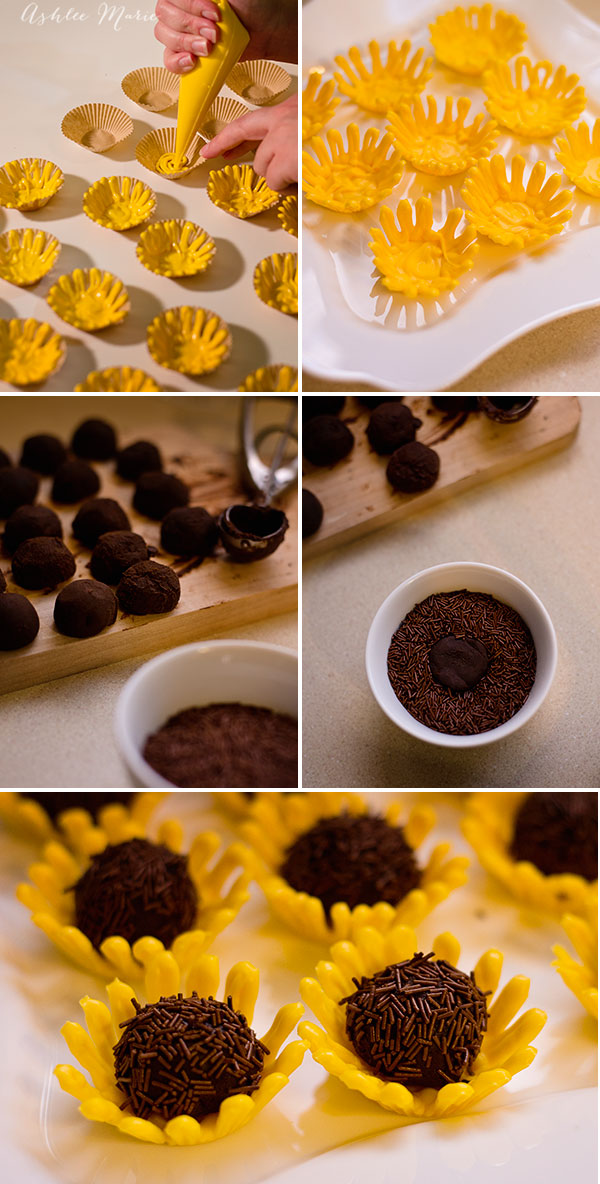 step by step how to create sunflower truffles
