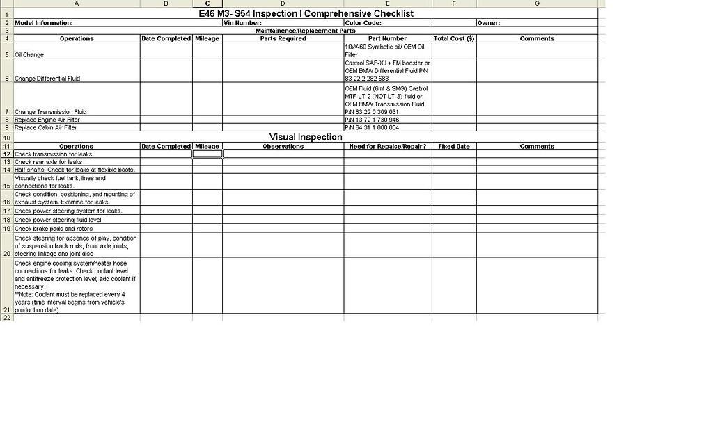 Bmw Inspection 1 Checklist Pdf Download