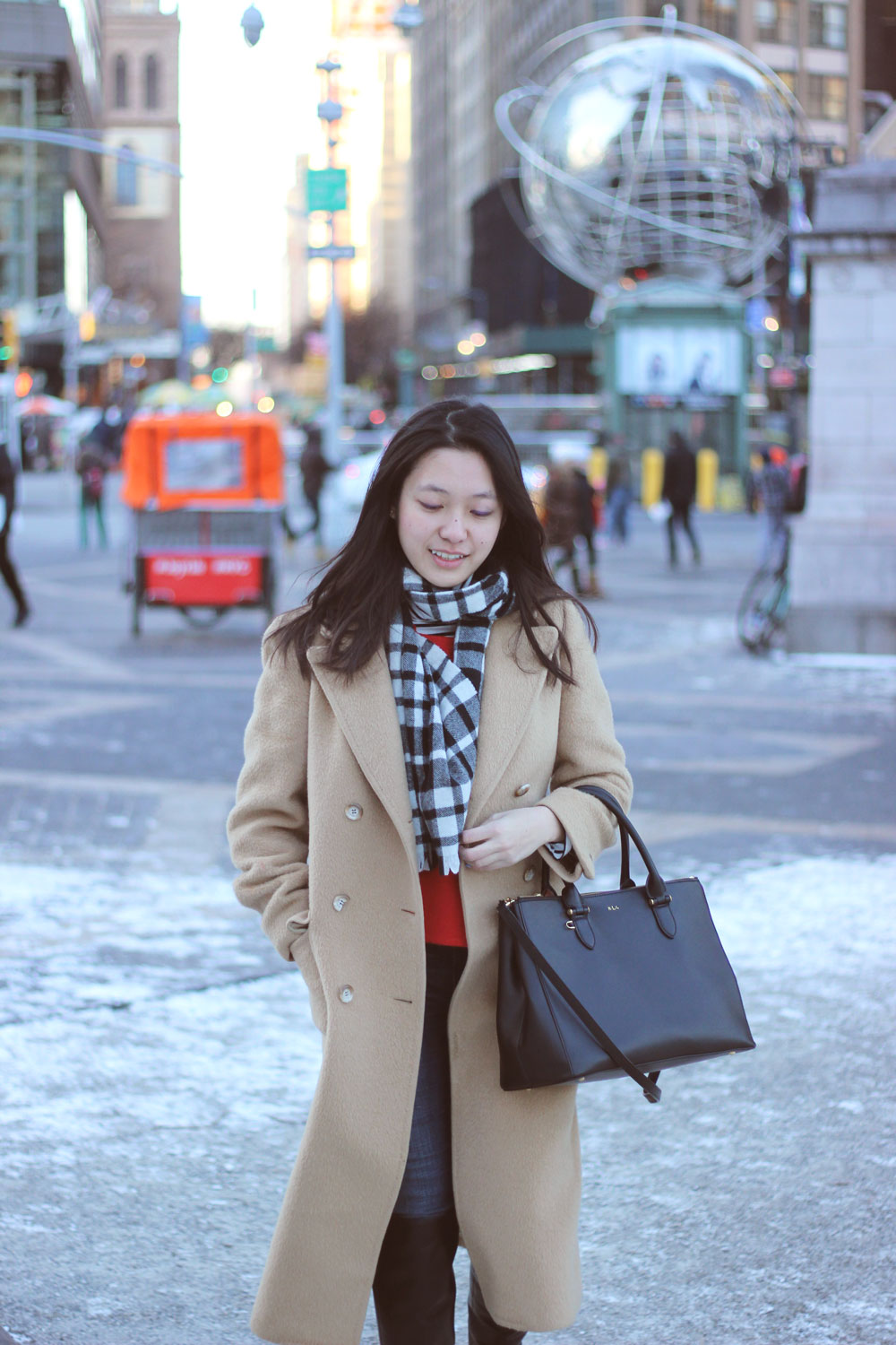 Red black and camel - camel coat over black and white check scarf