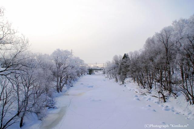 鉄橋が見えるオサラッペ川の風景