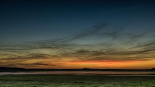 blue sunset sky cloud mist beautiful field norway fog landscape dawn evening colours norwegen nobody late colourful horizen rogaland sele