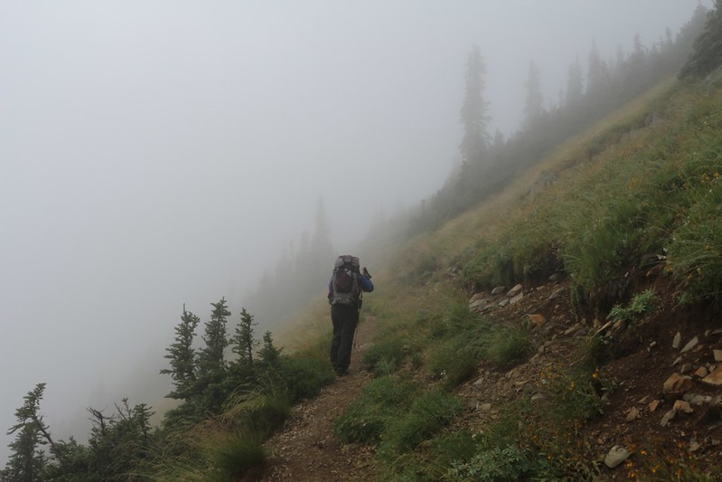 Misty morning hiking north from Glacier Pass toward Grasshopper Pass
