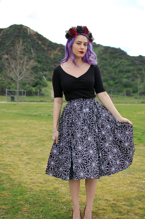 Pinup Girl Clothing Jenny Skirt in Spiderweb print