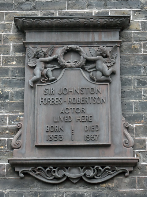 Johnston Forbes-Robertson black plaque - Sir Johnston Forbes-Robertson actor lived here. Born 1853, died 1937