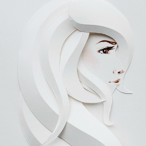 Illustrated Paper Sculpture - profile of woman's face