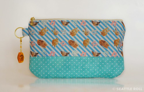 "Orange Apollo's Zipper Pouch (Two Tone: Blue Stripe + Aqua) + ""Bunny in Amber"" Resin Charm for Bunny Lovers"
